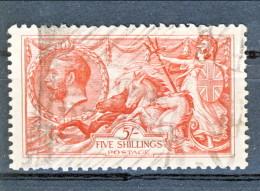 UK Giorgio V 1913 N. 154 S. 5 Rosso Fondo A Linee Orizzontali Usato Catalogo € 300 - Unclassified
