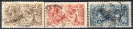 UK Giorgio V 1913 Serie N. 153-155 Fondo A Linee Orizzontali Fil 14 Usati Catalogo € 1100 - 1902-1951 (Könige)