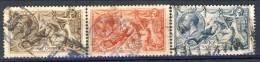 UK Giorgio V 1913 Serie N. 153-155 Fondo A Linee Orizzontali Fil 14 Usati Catalogo € 1100 - 1902-1951 (Re)