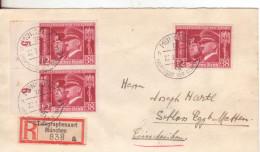 17-Germania Reich-Asse Mussolini-Hitler-Storia Postale-Raccomandata Da Monaco 1941 Fascismo-Nazismo - Briefe U. Dokumente
