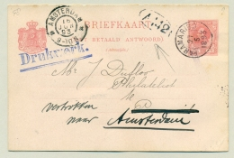 Suriname - 1893 - 2,5+2,5 Cent Willem III Briefkaart, G8 Doorgestuurd Naar Amsterdam - Real Used - Suriname ... - 1975