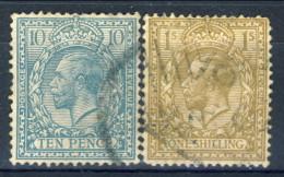 UK Giorgio V 1912-22 N. 151 P. 10 Azurro-verde E N. N. 152 S. 1 Bistro  Usati Catalogo € 30 - 1902-1951 (Re)