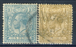 UK Giorgio V 1912-22 N. 151 P. 10 Azurro-verde E N. N. 152 S. 1 Bistro  Usati Catalogo € 30 - Unclassified