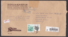 Taiwan: Registered Airmail Cover To Germany, 1996, 2 Stamps, Flower, Dragon, Label (minor Damage, Backflap Missing) - 1945-... Republiek China