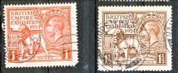 UK Giorgio V 1924 Expo Wembley, Serie 171.172 - 1 Penny Rosso + 1,5 Penny Bruno  Usato Catalogo € 25 - Unclassified