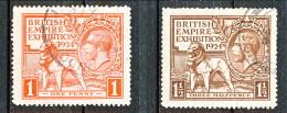 UK Giorgio V 1924 Expo Wembley, Serie 171.172 - 1 Penny Rosso + 1,5 Penny Bruno  Usato Catalogo € 25 - 1902-1951 (Re)