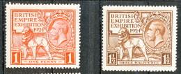 UK Giorgio V 1924 Expo Wembley, Serie 171.172 - 1 Penny Rosso + 1,5 Penny Bruno  MNH GO Catalogo € 48 - 1902-1951 (Re)