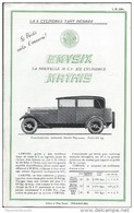 Catalogue Dépliant 4 Pages - Voitures MATHIS - 10 Cv 6 Cylindres - Publicités