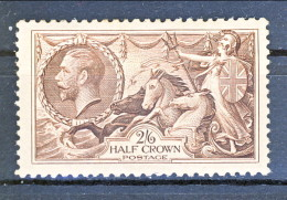 UK Giorgio V 1934 N. 198 S. 2,6 Bruno Seppia Fondo A Linee Incrociate MNH GO Gomma Originale Integra Catalogo € 200 - 1902-1951 (Re)