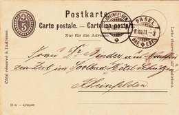 Schweiz, 5R Ganzsache Auf Pk Gelaufen 1901, Stempel Rheinfelden Und Basel