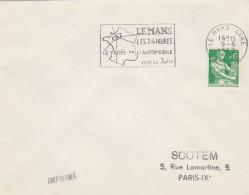 Yvert 1231 Sur Lettre Cachet Flamme SCOTEM : Automobile 24 Heures LE MANS GARE Sarthe 9/6/1962 - Annullamenti Meccanici (pubblicitari)