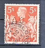 UK Giorgio VI 1939 N. 225 S. 5  Usato Perfin Catalogo € 3,50 - 1902-1951 (Re)