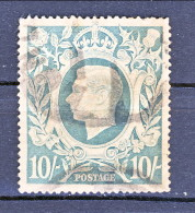 UK Giorgio VI 1942 Serie N. 233-234 S. 10 VARIETA´ COLORE Azzurro Latteo RARO, S. 2/6 PERFIN Usati Catalogo € 142 - 1902-1951 (Re)