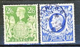 UK Giorgio VI 1942 Serie N. 233 - 234 - 2,5 Scellini Verde + 10 Scellini Azzurro Usati Cat. € 8 - 1902-1951 (Re)