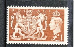 UK Giorgio VI 1951 N. 259 - 1 Sterlina Stemma Regno Unito MNH GO Catalogo € 70 - 1902-1951 (Re)