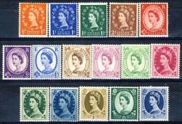 GB 1952-54 Elisabetta II Serie N. 262-278 (manca N. 275) MNH GO Catalogo € 100 - 1952-.... (Elisabetta II)
