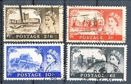 UK Elisabetta II 1955 Castelli E Effige. Serie 283-286 Filigrana 21 Usati Catalogo € 65 - 1952-.... (Elisabetta II)