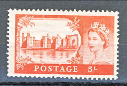 GB 1955 Elisabetta II Castelli E Effige. N. 284  - 5 Scellini Caernavon MH Leggera Piega A Dx Catalogo € 55 - 1952-.... (Elisabetta II)