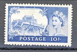 GB 1955 Elisabetta II Castelli E Effige. N. 285  - 10 Scellini  Edimburgo MH GO Catalogo € 140 - 1952-.... (Elisabetta II)