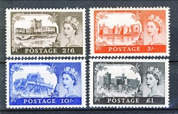 UK Elisabetta II 1955 Castelli E Effige. De La Rue 283A - 286A NO Filigrana MNH GO Gomma Originale Integra Cat. 1200 - 1952-.... (Elisabetta II)
