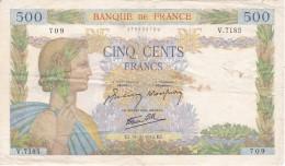 BILLETE DE FRANCIA DE 500 FRANCS DEL 15-10-1942  (BANKNOTE) LA PAIX - 1871-1952 Antiguos Francos Circulantes En El XX Siglo