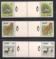 Aland Åland 1991 Mammals. Hedgehog (Erinaceus Europaeus), Squirrel , Deer Gutter Pair , Mi 44-46, MNH(**) - Aland