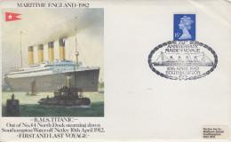 Enveloppe  ENGLAND  Anniversaire  Traversée  Transatlantique  Du  TITANIC    SOUTHAMPTON   1982 - Ships
