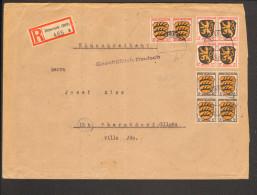 Fr.Zone Allg.Ausg.Einschreiben-Ferndoppelbrief M.5 U.12 Pfg.4er Block U.2 X 20 Pfg.Wappen A.Biberach (Riß) V.7.9.46 - Zone Française