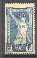 """Grand Liban: Maury N° 21*; Jeux Olympiques 1924 De Paris; Variété """"G"""" Maigre; Voir Les 2 Scans - Grand Liban (1924-1945)"""