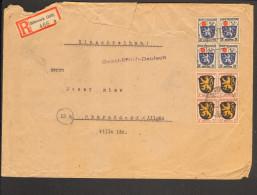 Fr.Zone Allg.Ausg.Einschreiben-Ferndoppelbrief M.3 Pfg.4er Block U.4x24 Pfg.Wappen A.Biberach (Riß) V.Sept.46 - Französische Zone