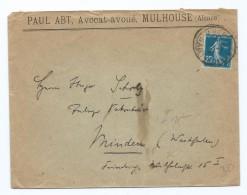 1585 - Lettre Paul ABT Avocat Avoué à Mulhouse - Semeuse 25c - Pour Minden Scholz - 1921-1960: Modern Period
