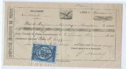 1592 - Lettre De Change Compagnie Française Du Phenix Orléans Bordas Michy Beaulieu Timbre Quittance 10c - Bills Of Exchange
