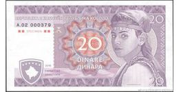 TWN - KOSOVO - 20 Dinara 2016 UNC Private Issue Specimen Essay Low Serial 000XXX - FREE SHIPPING On EUR 150+ - Non Classificati
