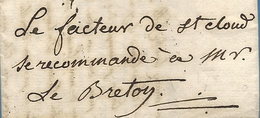 """Manche - Avranches Pour Ville-d'Avray Par Sèvres. MP Lenain N°4. 1788. """"Le Facteur De St Cloud Se Recommande à M...."""" - Postmark Collection (Covers)"""
