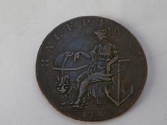 Token  1/2  Penny  1793   HAMPSHIRE / PEACE AND PLENTY  Peter Kempson    //sur La Tranche: Current Everywhere - Monétaires/De Nécessité