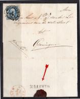 Briefomslag Plaat I-97 WARFFUM (langstempel) > Van Der Lee Ingenieur Waterstaat Groningen 8.12.1852 (em12) - Periodo 1852 – 1890 ( Guillermo III)