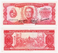 ® URUGUAY 1967: Billete Variante Difícil $100 - Uruguay