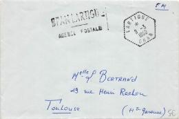 CACHET HEXAGONAL POINTILLE DE LARTIGUE + GRIFFE AGENCE POSTALE   ALGERIE SUR LETTRE POUR LA FRANCE  COVER - Algeria (1924-1962)