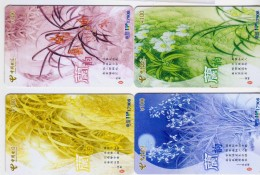 China 2006 Telecom Phonecards Orchids 4V - Bloemen