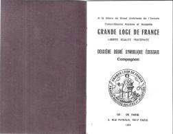 FRANCS-MACONS-GRAND LOGE DE FRANCE- LES ECOSSAIS D´OLBIA  HYERES VAR- GRADE DE COMPAGNON   1973-CARNET - Old Paper