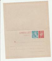 Carte-lettre Pétain 1F Rouge Sur Entier Gris-bleuté Avec Mercure - Postal Stamped Stationery