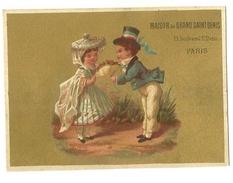 CHROMO - MAISON DU GRAND SAINT DENIS - ENFANTS SUR FOND DORE - SCANS RECTO VERSO - Trade Cards