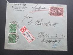 DR Queroffset MiF 1923 Einschreiben Cöthen (Anhalt) 2 No 335. Paul Voigt Briefmarkenhandlung - Deutschland