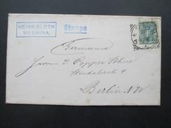 Italien 1893 Nr. 60 Einfachfrankatur Heinrich Kloth Messina. Stampe. Gesendet Nach Berlin! - 1878-00 Umberto I