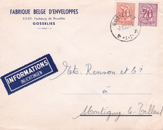 Lettre Belgique Fabrique Belge D'Enveloppes Gosselies - Bélgica