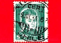 CILE  - Usato - 1952 - Generale Bernardo O'Higgins (1776-1842), Capo Di Stato - 1 $ - Chili