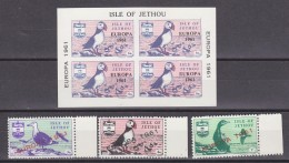 Europa Cept 1961 Isle Of Jethou 3v + M/s ** Mnh (33696) - Europa-CEPT