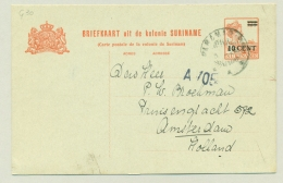 Suriname - 1926 - 10 Cent Opdruk Op 12,5 Cent Briefkaart, G30 Van Paramaribo Naar Amsterdam - Suriname ... - 1975