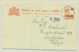 Suriname - 1926 - 10 + 10 Cent Opdruk Op 12,5 + 12,5 Cent Briefkaart, G31 Van Paramaribo Naar Amsterdam - Suriname ... - 1975