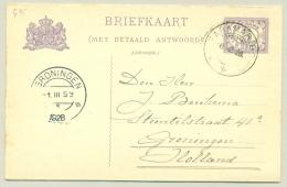 Suriname - 1928 - 5+5 Cent Briefkaart, G35 Van Paramaribo Naar Groningen - Suriname ... - 1975
